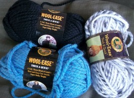 Wool Ease Thick & Quick Yarn 3 Skeins Super Bulky 140 gr Each Lion Brand - $14.84
