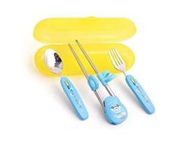 Panda Superstore Three-piece Children's tableware Fork&Spoon&Chopsticks(Blue)