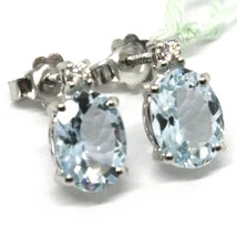 18K WHITE GOLD AQUAMARINE EARRINGS 2.50 CARATS, OVAL CUT, DIAMONDS, ITALY MADE image 2