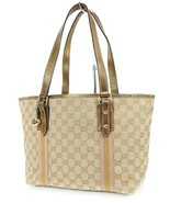 Authentic GUCCI Brown GG Canvas and Gold Leather Tote Hand Bag Purse #38490 - $305.00