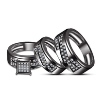 Black GP Men's Women's His Her Wedding Trio Ring Set & Free Shipping & Free Gift - $167.50