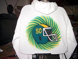 Airbrushed Hooded Sweatshirt Football S M L Xl 2X 3X 4X - $19.76