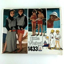 Vintage Vogue Sewing Pattern Girl Boy Swim Suits Cover Ups Size 3 Hat PA290 - $14.69