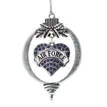 Inspired Silver Air Force Pave Heart Holiday Decoration Christmas Tree Ornament - $14.69