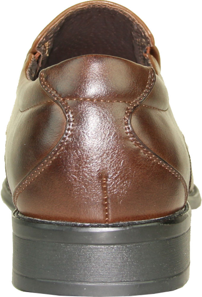 BRAVO Men Dress Shoe MILANO-7 Classic Loafer with Double Runner Square Toe Brown