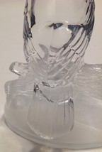 Figurine Glass Owl Paperweight Heavy Clear Frosted Satin Glass Sitting on Log image 7