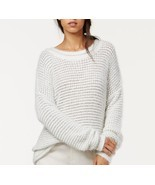 Rachel Roy Sweater Sz L White Light Grey Metallic Wool Fresh Slouchy Pul... - $49.44
