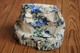 """Longaberger Blue Rose Yellow Stripe Basket Liner 4.5"""" x 3"""" 100% Cotton USA - $11.40"""