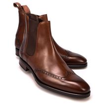 Handmade Men's Brown Leather Wing Tip Brogues High Ankle Chelsea Leather Boo image 2