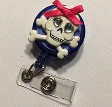 Skull & Cross Bones badge reel key card ID holder lanyard retractable sc... - $7.99