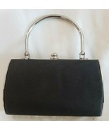 Faux Silk Evening Bag Satchel Purse Black Formal Silver Tone Metal Clutc... - $16.81