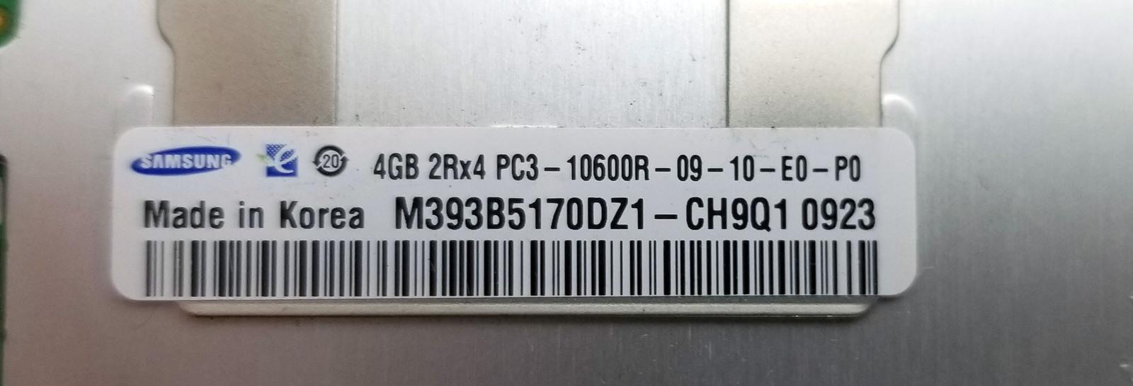 Samsung 4GB 2Rx4 PC3-10600R Server RAM (M393B5170EH1-CH9) Bin:1