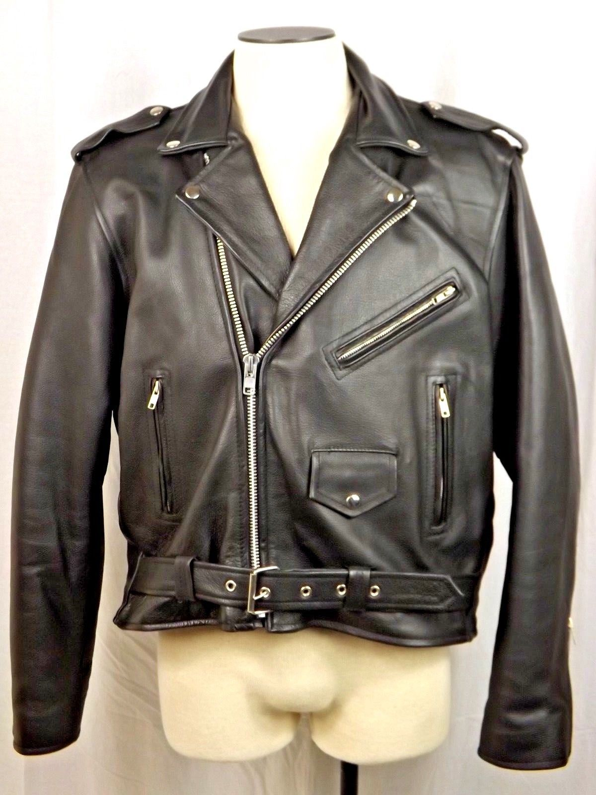 NEW American Made Naked Cowhide Leather Motorcycle Jacket Biker Brando Size 50 - $299.00