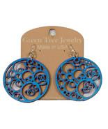 Green Tree Jewelry Circles N' Circle Aquamarine Wood Wooden Earrings #1002 - $9.99