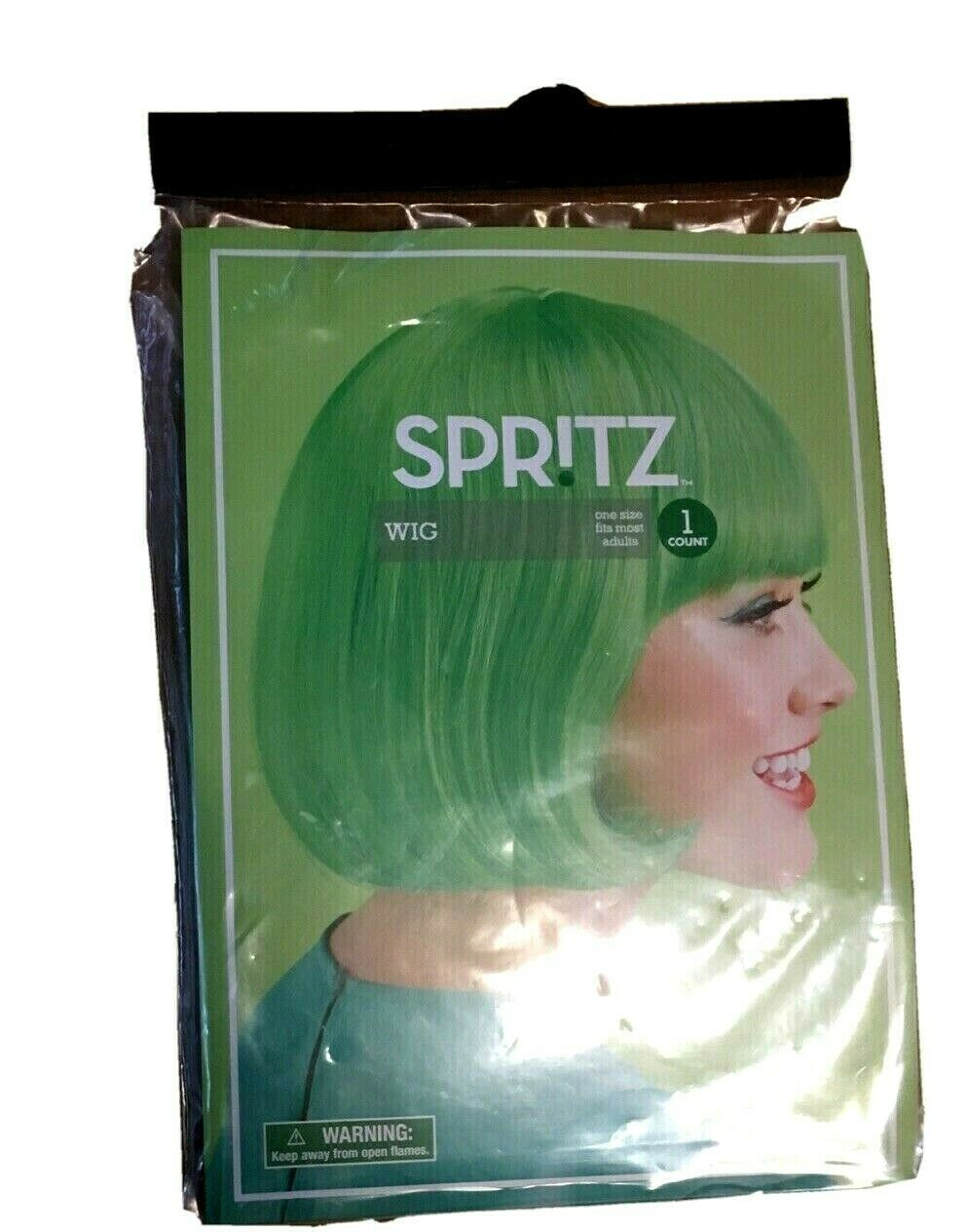 Spritz Women's Short Hair Bob Wig With Bangs One Size Green