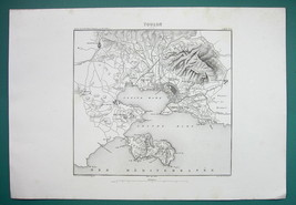 1846 MAP - FRANCE Environs of Toulon Seyene-sur-Mer Ollioules Valette - $14.85