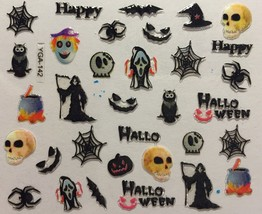 BANG STORE Nail Art 3D Decal Stickers Happy Halloween Reaper Spider Bat Skull - $3.67