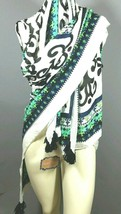 "Blossom Boutique Women's Shawl Scarf Fleur De Lis Black Blue White 52"" x... - $17.45"