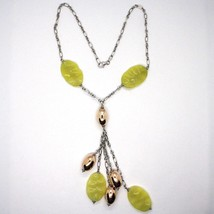 Silver necklace 925, Oval Pink, Jasper Green Wavy, Cluster Pendant image 2