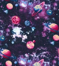 Fuera Espacio Planets- Fabric Traditions -purples-pinks-blues-fat 1 / 4-... - $16.74
