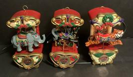 Mr Navidad Carousel Adornos Circo Animales Luces Animados Probado 1993 - $55.73