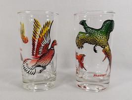 SET OF 2 GLASSES -MID CENTURY RETRO PHEASANT DUCKS EX COND-BARWARE GIFT - $7.99