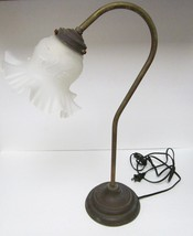 "Tulip Brass Gooseneck Lamp W Tulip Shaped Frosted Glass Shade-19"" Tx7""W ... - $89.95"