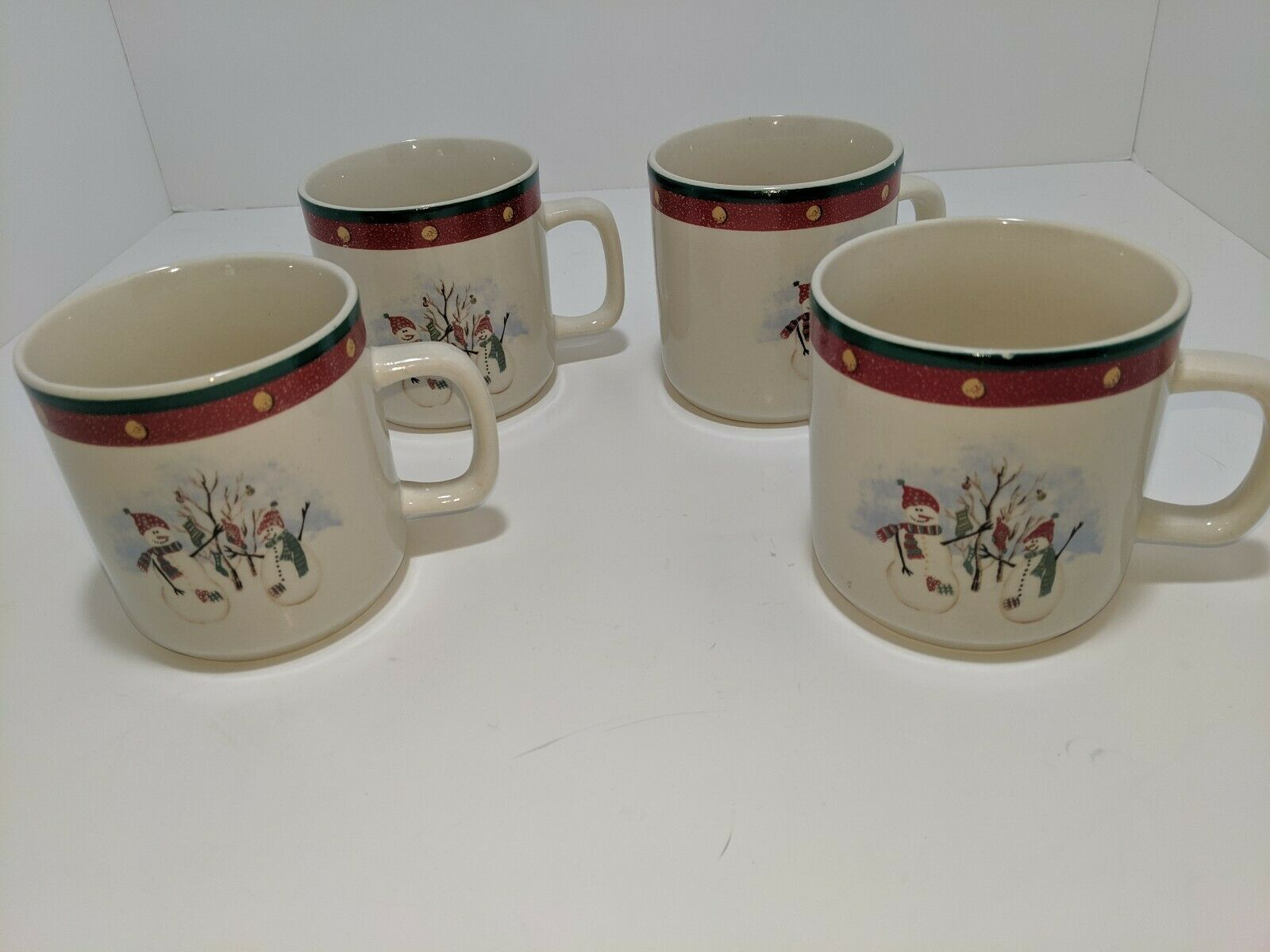 Primary image for 4 Royal Seasons Christmas Holiday Snowman Stocking Tree Coffee Tea Mugs Cups