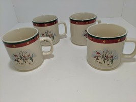 4 Royal Seasons Christmas Holiday Snowman Stocking Tree Coffee Tea Mugs ... - $19.79