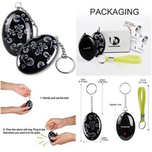 2 Pack Personal Alarm Siren Song Survival Kids Self Defense Keychain Whi... - $18.75