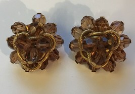 Vintage Signed Napier Yellow Topaz Cha Cha Style Clip On Earrings - $13.86
