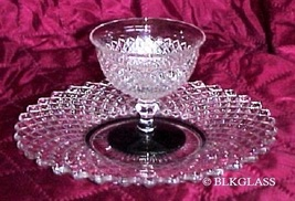 """Westmoreland Glass English Hobnail- 8"""" Dessert Plate And Black Footed Sherbet - $25.99"""