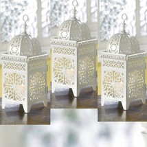 3 Lot White Moroccan Marrakech Lantern Candle Holder Wedding Centerpieces - $28.66