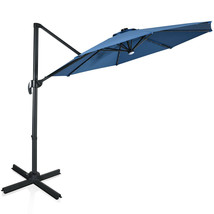 10 Ft Patio Offset Cantilever Umbrella with Solar Lights-Blue - $321.56