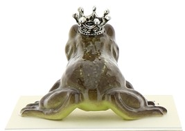 Hagen-Renaker Miniature Ceramic Frog Figurine Brown Frog Prince Kissing image 2