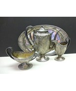 4pc Arts & Crafts BARBOUR Sterling Silver TEA SET Teapot Cream Sugar Tra... - $1,500.00