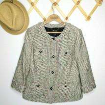 Talbots Blazer Jacket Size 12 Petite 12P Boucle Tweed Multi Color Career... - $26.99