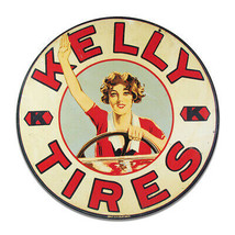 Vintage Kelly Tires Garage Sign Keychain Key Holder Round MDF Wood Sign - $29.65