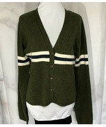 The Original Arizona Green Wool Cardigan Sweater Blue White Stripes - $35.64