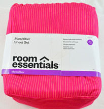 New Microfiber SHEET SET XL Twin by Room Essential Pink / Red Pin Strip ... - $9.99