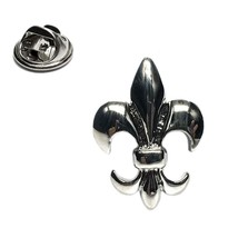 Silver Plated fleur de lye symbol Lapel Pin Badge / tie pin. in gift box