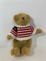 Lillian Vernon plush jointed holiday tan teddy bear American flag sweater - $9.89