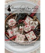 Festive LIttle Fobs: Valentine #1 cross stitch chart Heartstring Samplery - $9.00