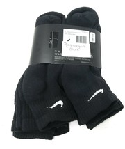 Mens Ankle Nike Socks L Black Women Quarter 6 Pairs Cotton Cushion Training image 2