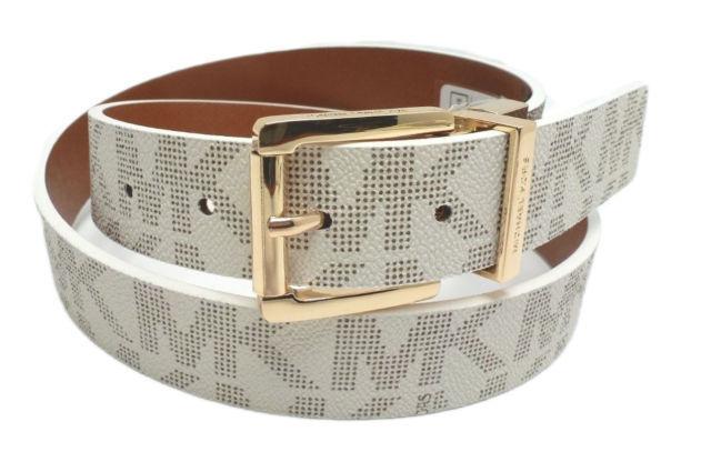 1c0e2cc970a52 S l1600. S l1600. Previous. Michael Kors Vanilla Cognac Gold Buckle  Reversible Logo Belt 553119C-Size M