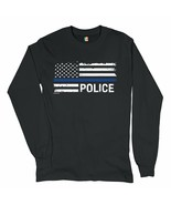 Thin Blue Line American Flag Long Sleeve T-shirt Police Law Enforcement  - $14.71+