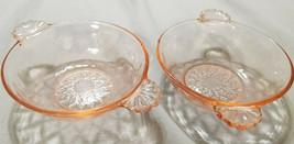 Vintage Anchor Hocking Depression Glass Pink Diamond Optic Berry Bowls, ... - $9.00