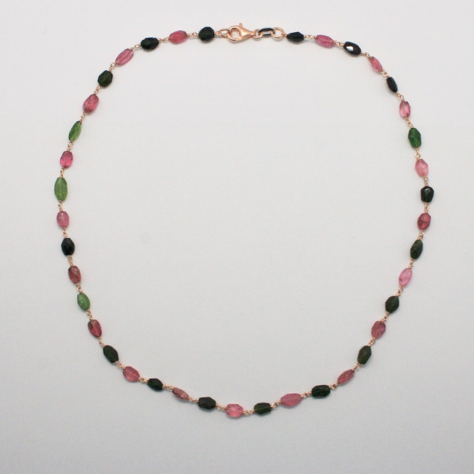 925 STERLING SILVER NECKLACE PINK WITH TOURMALINE GREEN AND PINK FACETED