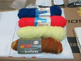 Knitting Yarn  , 4 Rolls , Vintage , Knitting Worsted , 100% Virgin Wool - $25.00