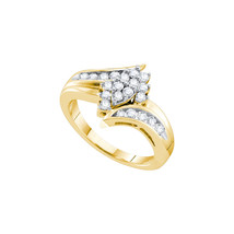 14k Yellow Gold Womens Round Diamond Marquise-shape Cluster Ring 1/2 Cttw - $773.00